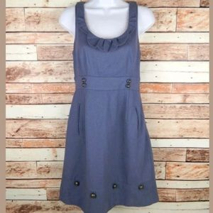 Anthropologie dress Familiar Places Blue Wool
